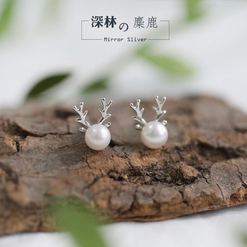 彩丽馆日韩文艺森林系小麋鹿可爱天然珍珠鹿角s925纯银耳钉圣诞礼物女
