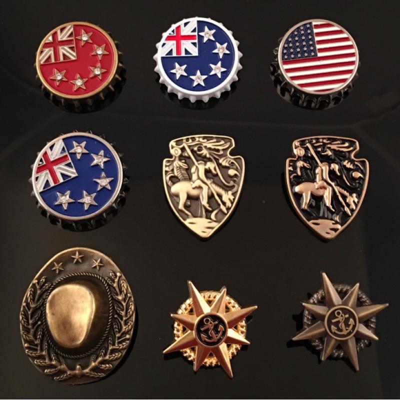 彩丽馆英伦复古飞鹰骑士星条旗心型金属星芒星光啤酒盖徽章胸章勋章