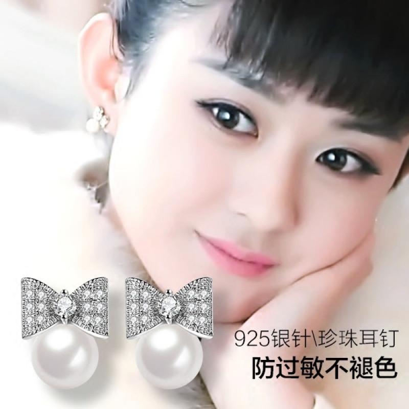 彩丽馆明星同款蝴蝶结珍珠耳钉女甜美气质韩国百搭s925纯银耳针防过敏