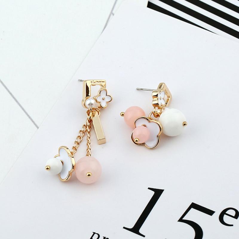 彩丽馆日韩国甜美可爱珍珠花朵水晶吊坠耳环百搭气质长款耳钉耳坠配饰