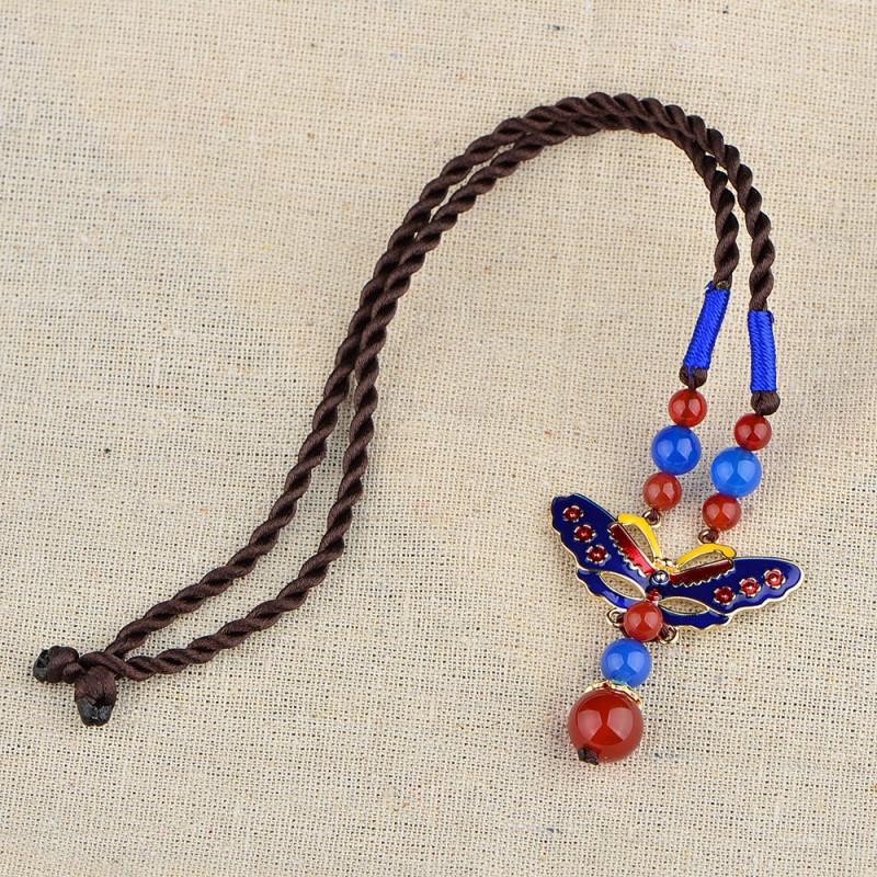 彩丽馆云南民族风项链 女复古锁骨链手工绳编织短款景泰蓝玛瑙吊坠