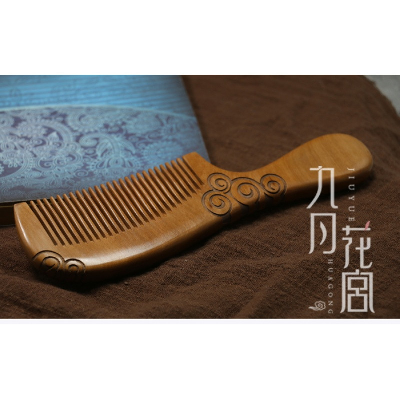 彩丽馆雕刻大号花纹按摩桃木梳 古风宫廷创意木质梳子