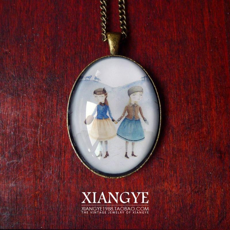 彩丽馆彩丽馆 日本设计师手工制作手绘插画宝石复古长款毛衣项链 一图