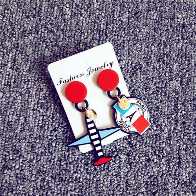 彩丽馆卡通时尚气质飞机耳环韩国甜美个性潮人耳坠女欧美街拍耳饰品送