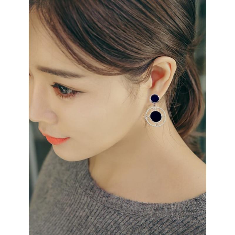 韩版时尚气质可爱欧美百搭黑色耳钉耳环耳饰品女送女朋友老婆生日礼物
