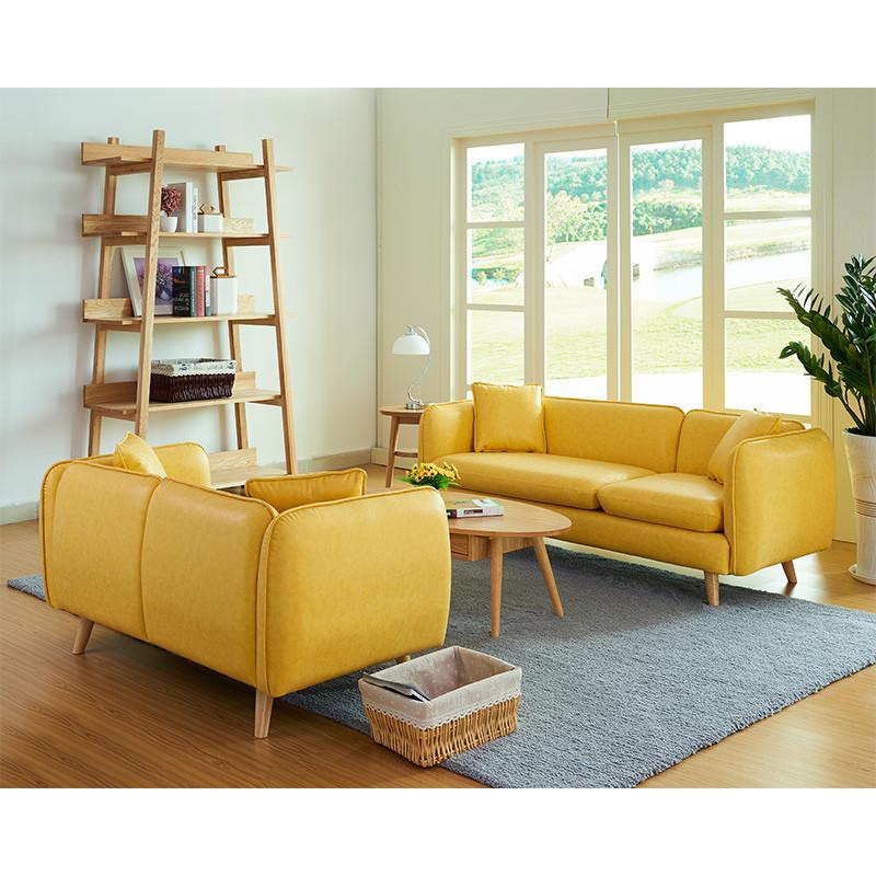 千住明小户型日式简易时尚双人皮沙发北欧客厅会客厅办公室三人皮艺