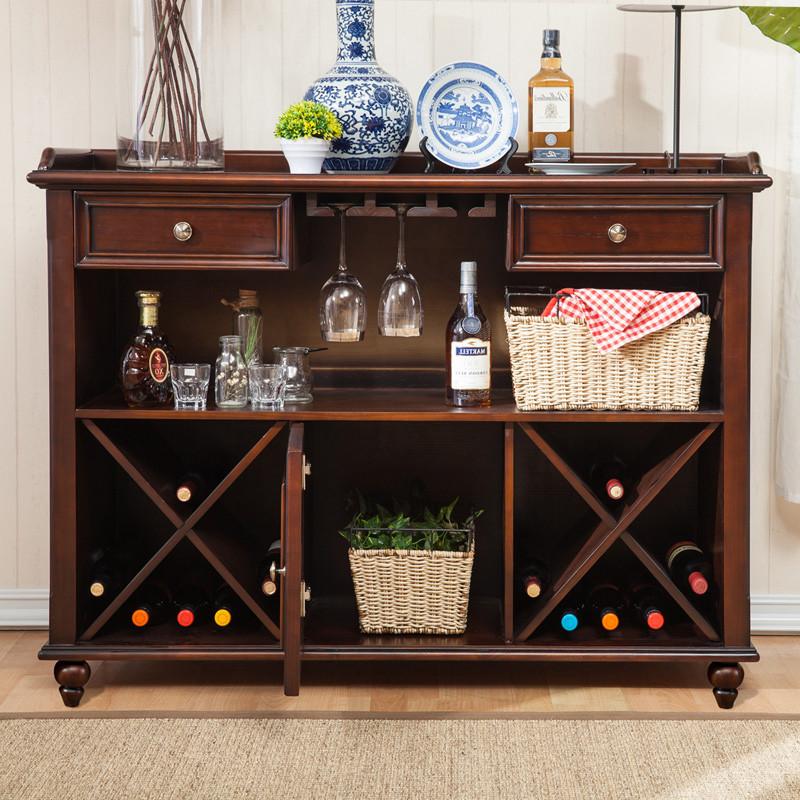千住明美式乡村实木餐边柜厨房柜子储物柜带门碗柜客厅矮酒柜茶水柜