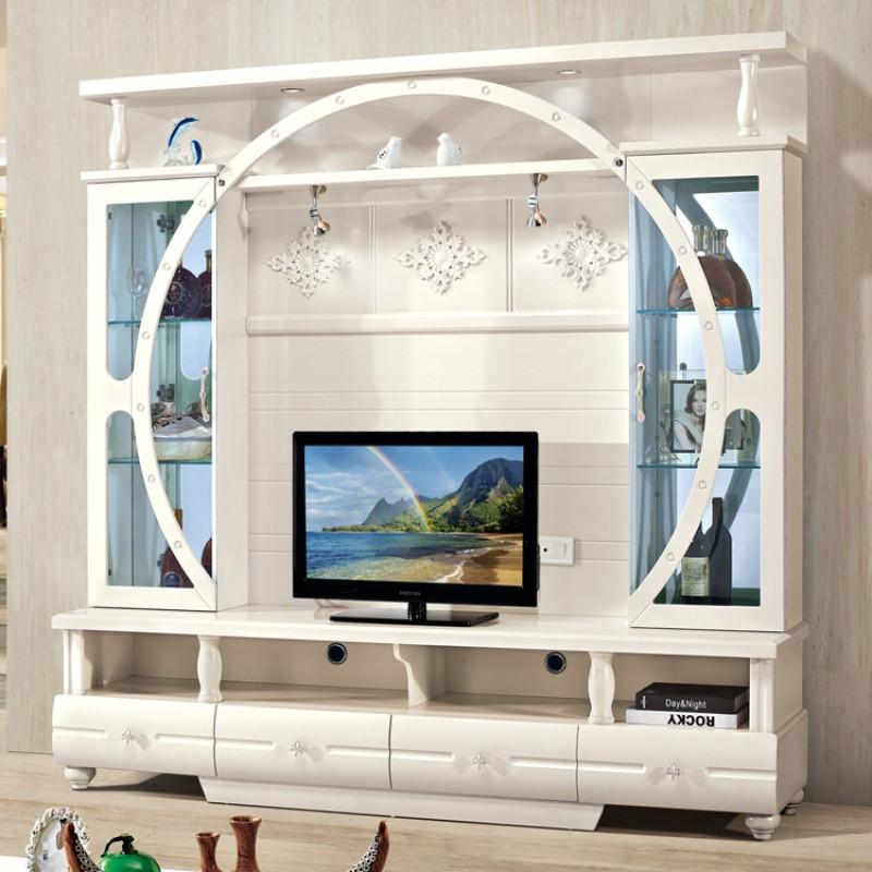 千住明客厅组合电视柜田园酒柜地柜欧式电视机柜简约电视墙影视墙背景