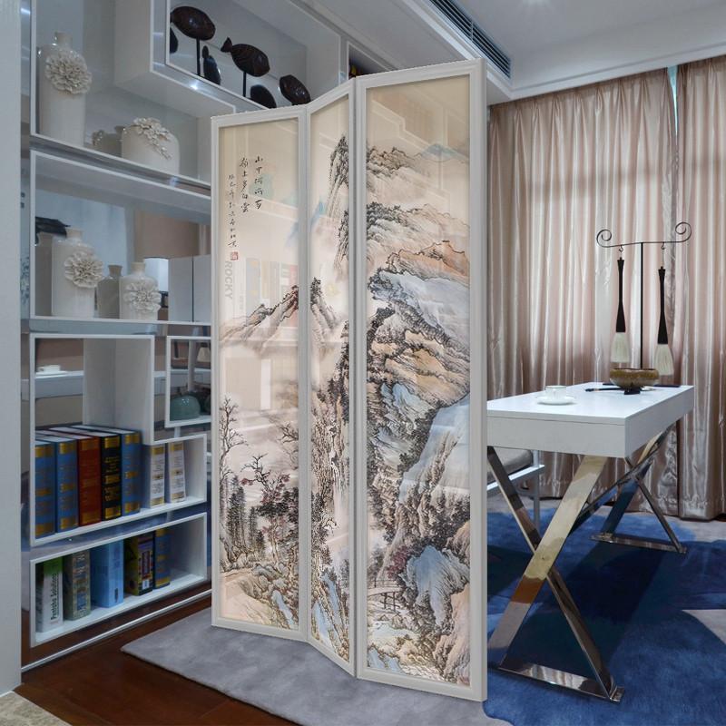 千住明新中式可移动屏风折屏客厅书房玄关隔断屏风国画山水个性定制