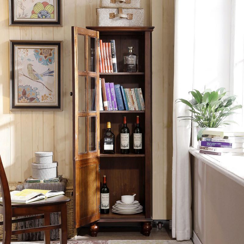 千住明全实木书柜带玻璃单门美式乡村客厅餐厅欧式陈列柜卧室高装饰酒