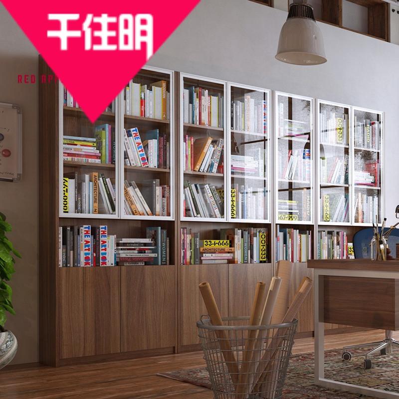 千住明红苹果家具书柜带门简约现代简易书柜书架组合书柜玻璃门r732-0