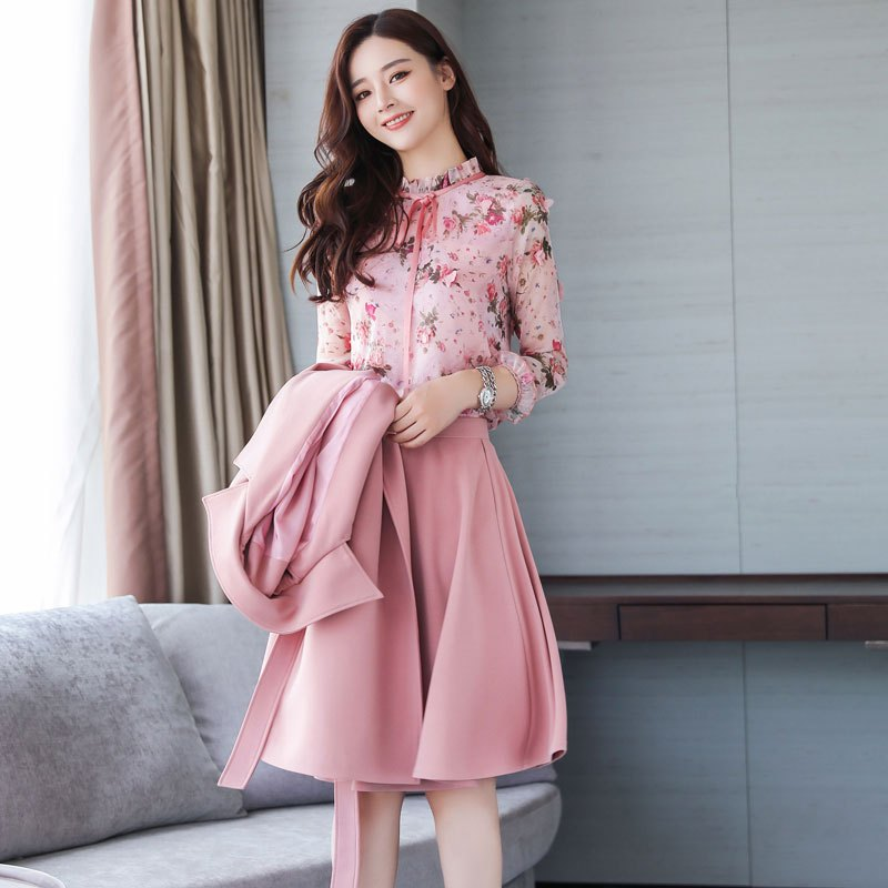 愫惠君初秋秋季套装女时尚两件套2017新款春秋装时髦气质连衣裙冬潮