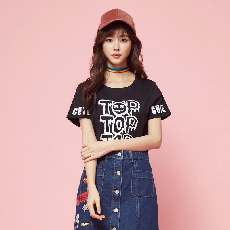 美特斯邦威短袖情侣t恤女2017夏装新款趣味字母印花可爱上衣韩版