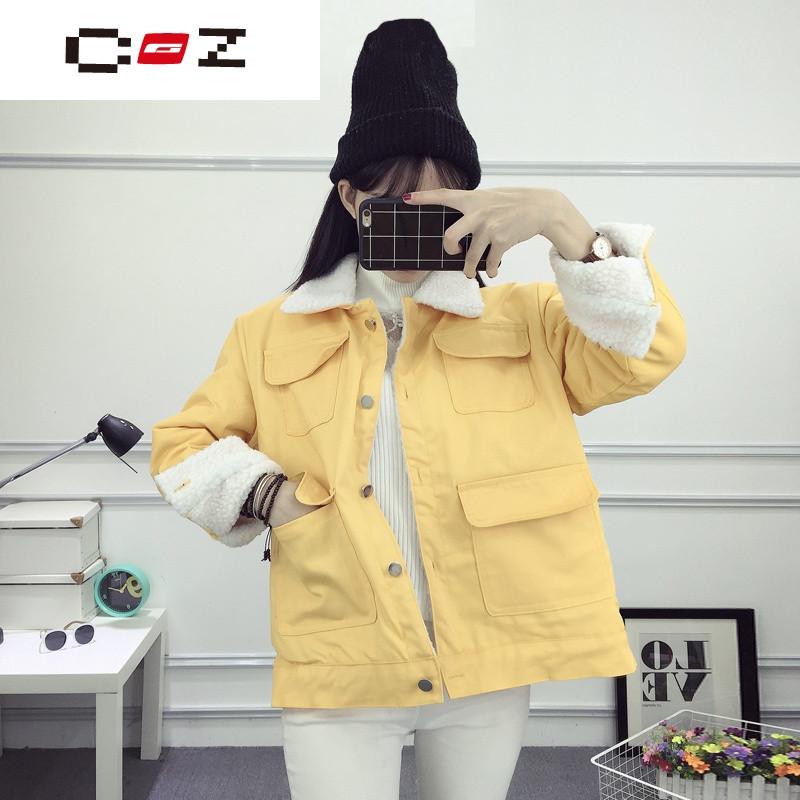 品牌学院风少女韩版冬季中学生休闲加厚短款棉衣潮宽松开衫加绒外套女图片