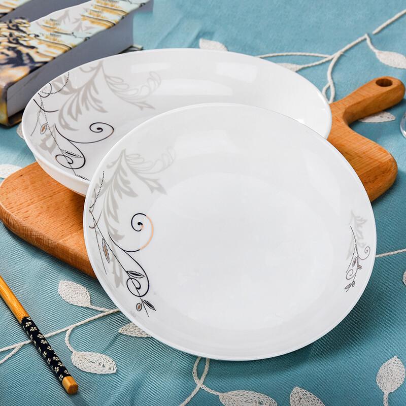家用4人碗筷套装中式陶瓷盘子碗具成套餐具简约碗盘碗碟组合金枝玉叶