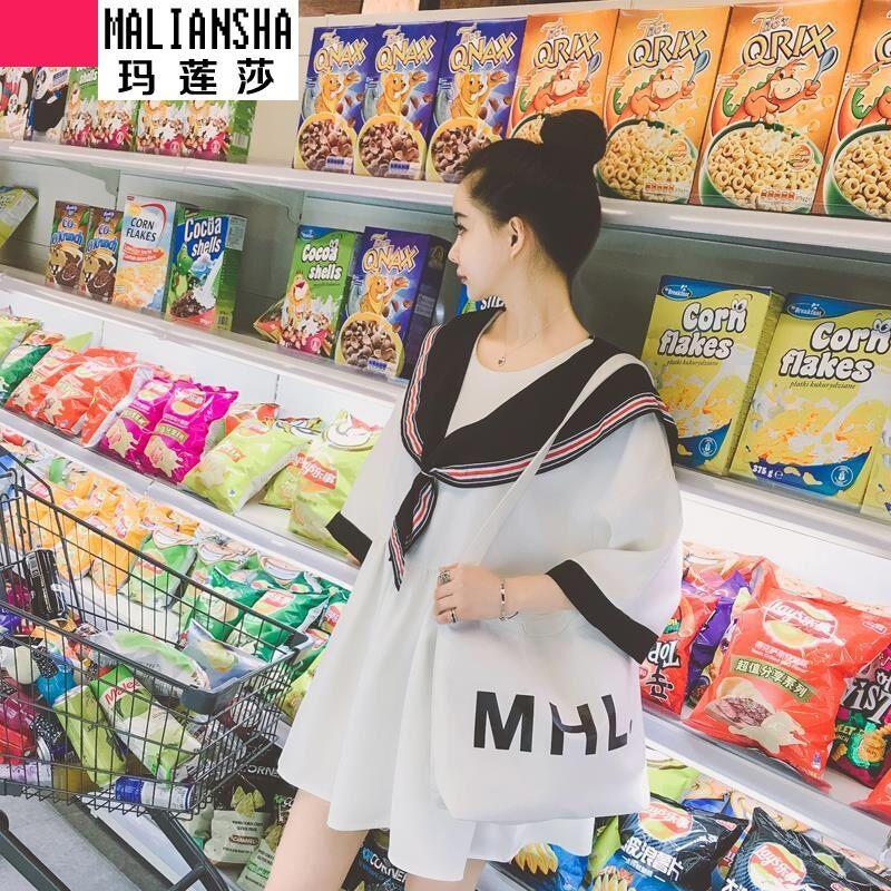 玛莲莎2017夏装新款韩版宽松显瘦学院风海风娃娃裙短袖连衣9986