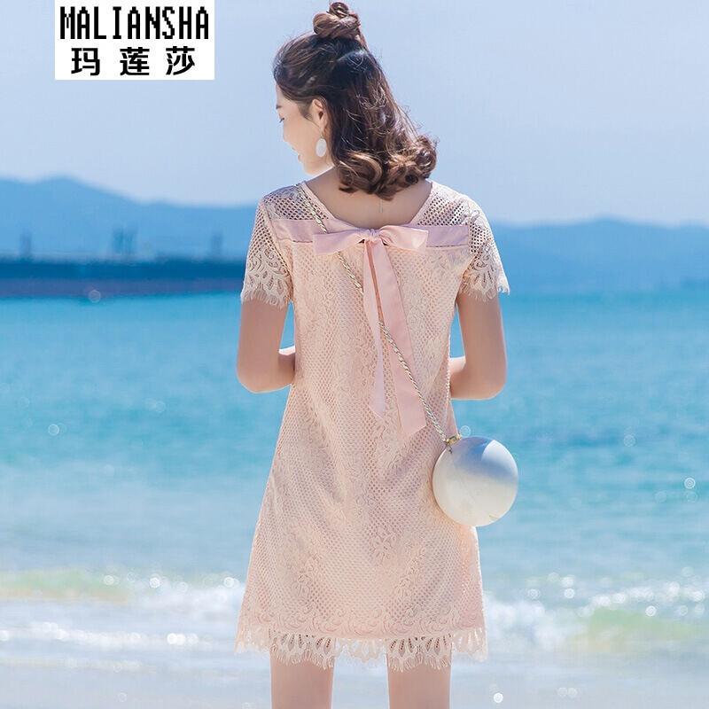 玛莲莎连衣裙2017夏季新款蕾丝后背蝴蝶结短袖裙子女连衣裙粉色