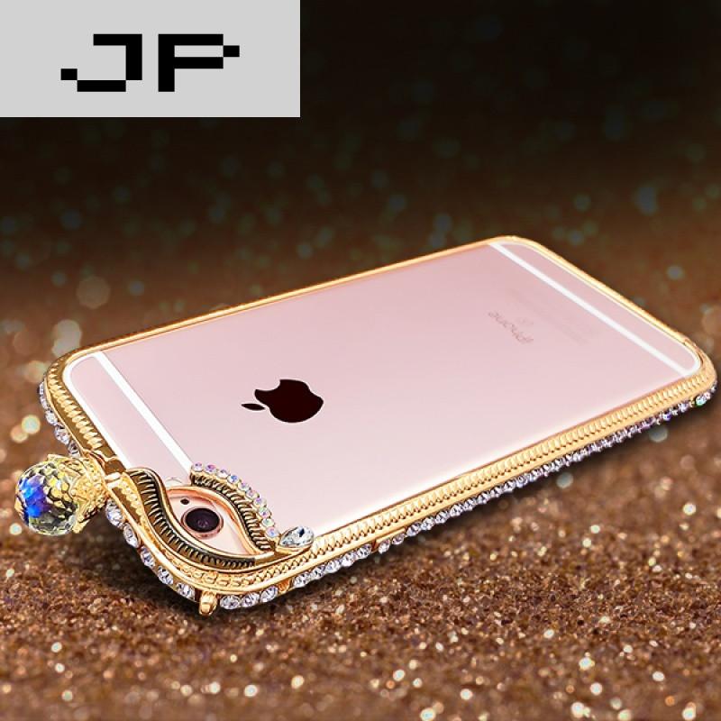 jp潮流品牌苹果6手机金属边框媚眼水钻iphone6手机壳女款玫瑰金6s保护
