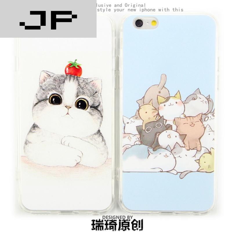jp潮流品牌iphone6手机壳5s保护壳苹果6plus硅胶套软壳可爱彩绘猫咪带