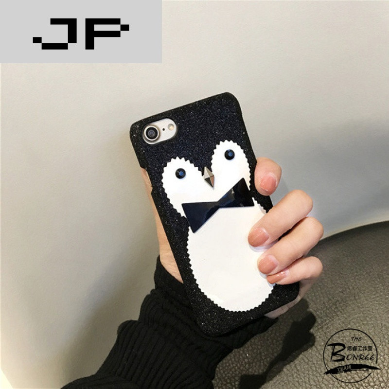 jp潮流品牌韩国黑白新款亮粉可爱企鹅苹果6s/7手机壳iphone6p/7plus硬