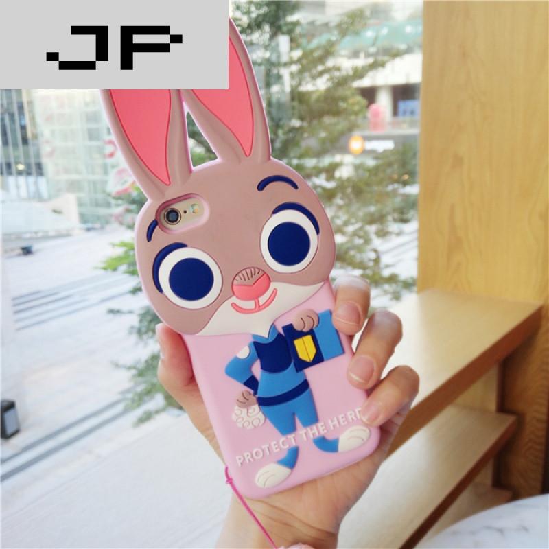 jp潮流品牌带挂绳范冰冰同款judy朱迪兔手机壳iphone6s苹果5s硅胶6