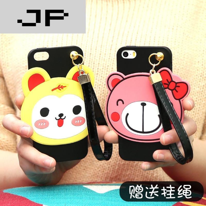 jp潮流品牌iphone5s手机壳苹果5硅胶套五se手绳个性防摔可爱卡通超萌