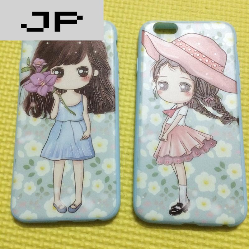 jp潮流品牌清新卡通可爱女孩iphone7浮雕7plus软壳苹果6全包薄荷绿花