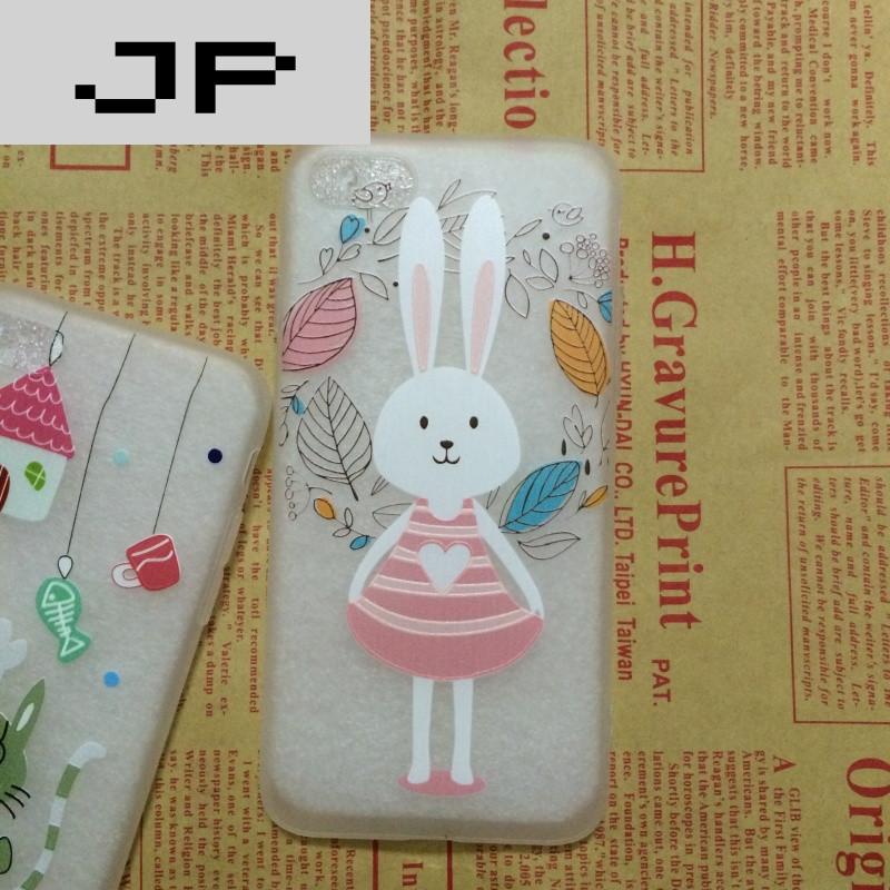 jp潮流品牌可爱小白兔iphone6/6s浮雕龙猫苹果7plus透明保护套鱼软壳