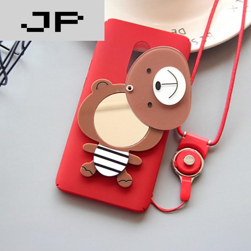 jp潮流品牌红米note4呆萌小熊镜子手机壳挂绳手机套卡通全包磨砂硬壳