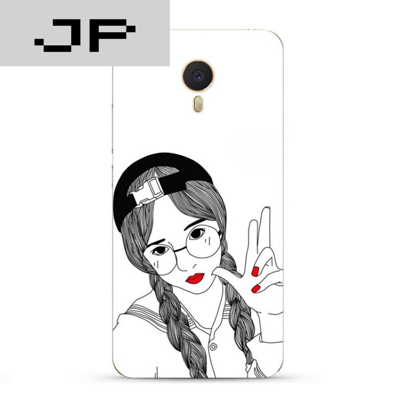 jp潮流品牌个性手绘潮流女孩魅族魅蓝3s note5 3 2 metal手机壳软壳防