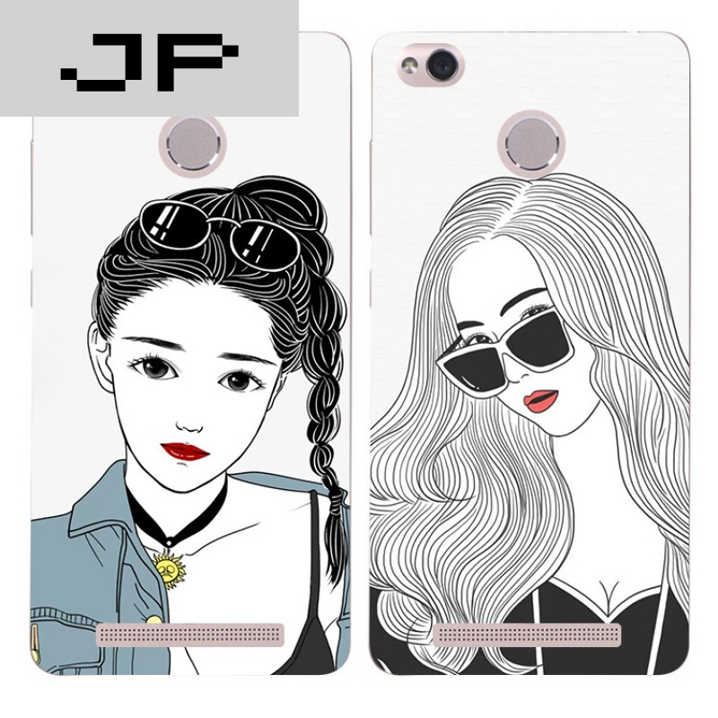 jp潮流品牌个性手绘潮流女孩红米3s note3 pro手机壳硅胶全包软壳防摔