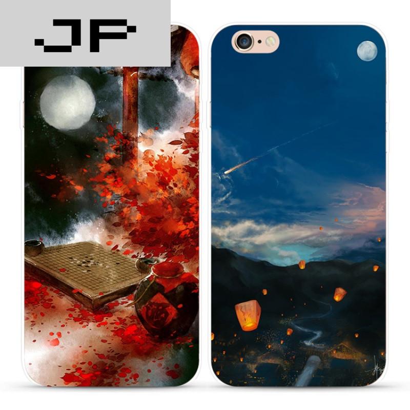 jp潮流品牌唯美古风苹果iphone7 6s plus 5s手机壳手绘风景男女款软壳