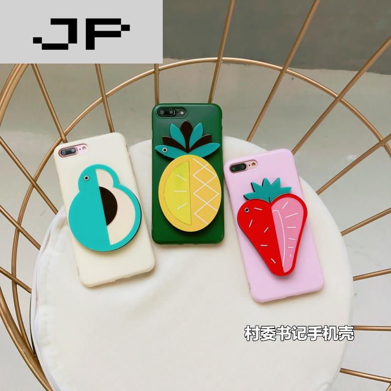 jp潮流品牌夏日清新菠萝草莓镜子手机壳 可爱iphone6s
