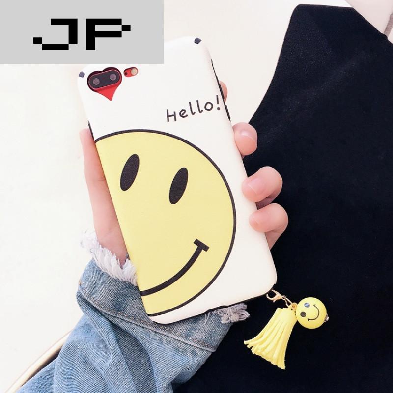 jp潮流品牌可爱卡通笑脸流苏挂坠vivox9手机壳vivox7