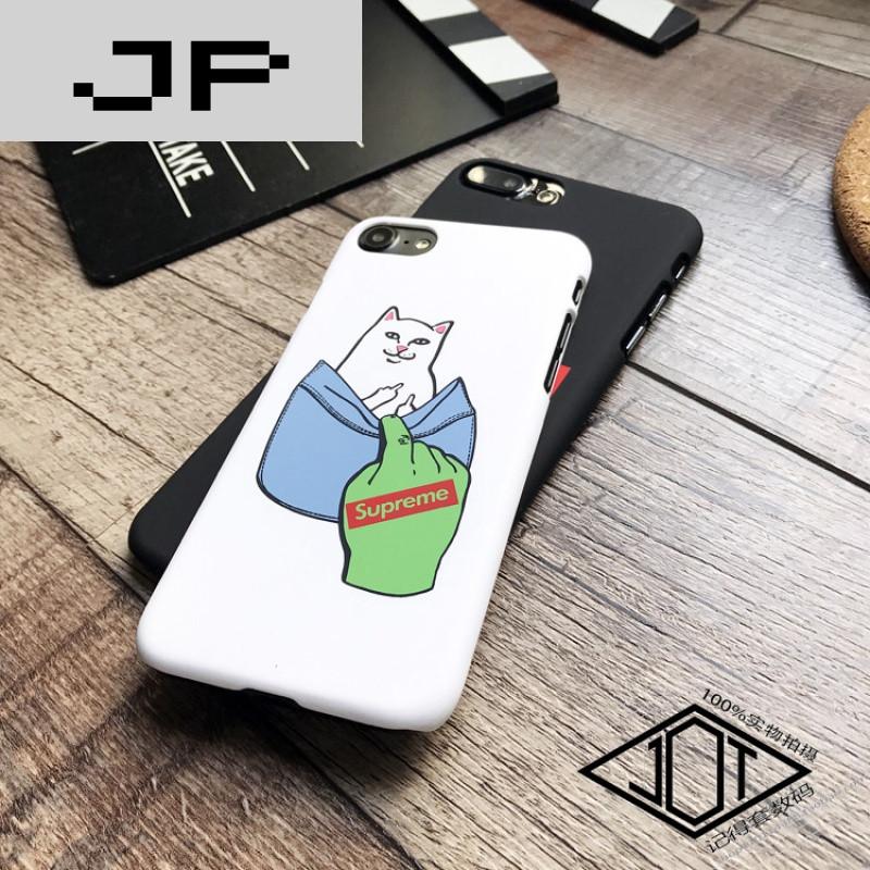 jp潮流品牌创意口袋中指猫7plus手机壳iphone6s苹果7硬壳磨砂supreme