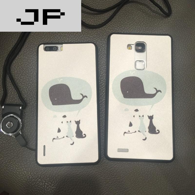 jp潮流品牌华为mate8手机壳简约可爱小鲸鱼荣耀6plus
