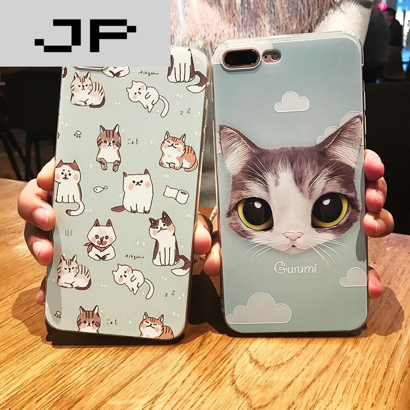 jp潮流品牌卡通可爱猫咪iphone6浮雕苹果6s手机壳超薄
