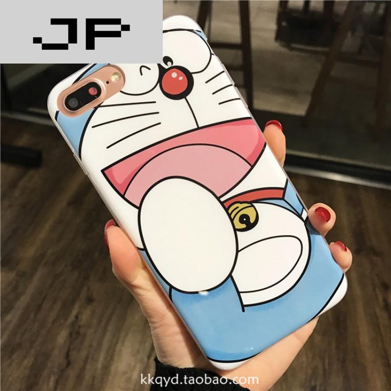 品牌蓝胖子苹果6手机壳iphone7烤瓷硅胶套可爱卡通猫6splus全包软壳女