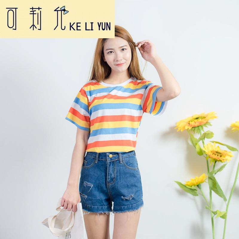 keliyun春夏女装新款韩版可爱小清新彩色条纹宽松短袖