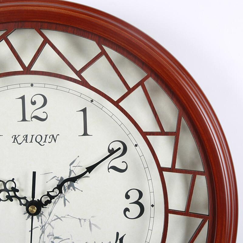 凯琴(kaiqin)38cm大号木头时钟中式客厅挂钟创意古典静音钟家居装饰木