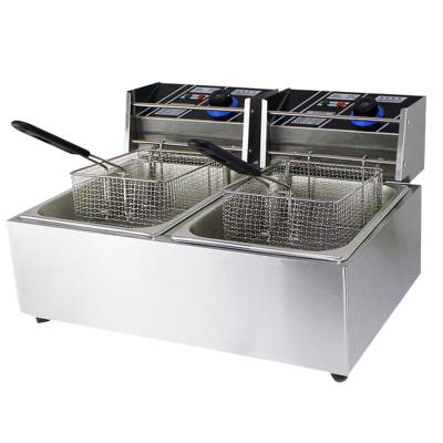 納麗雅 電炸爐商用電炸鍋單缸雙缸全自動炸雞爐 雙缸雙篩