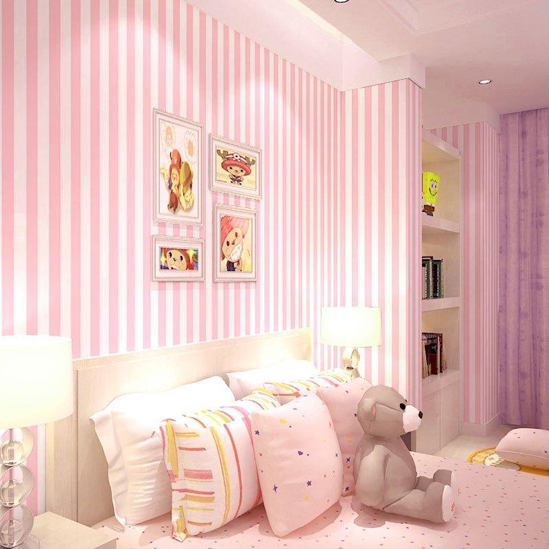 儿童房女孩卧室现代简约壁纸无纺布地中海蓝色竖条纹糖果色家居墙纸