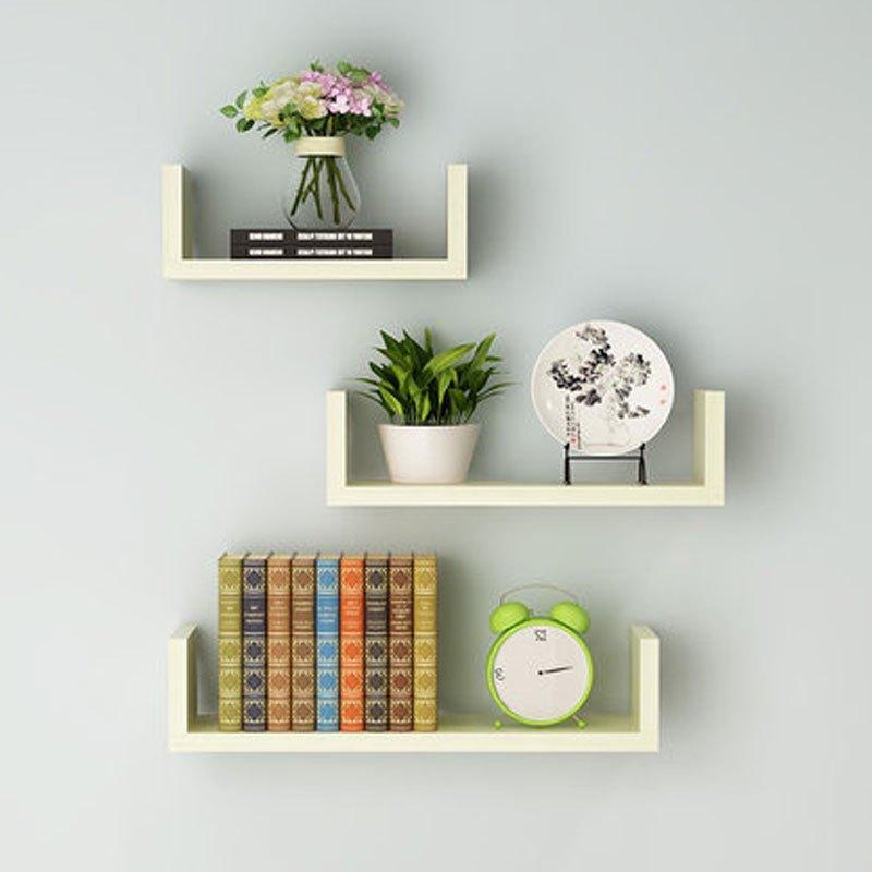 一字形人造板墙上置物架客厅墙壁挂墙面隔板搁卧室多层书架免打孔简约