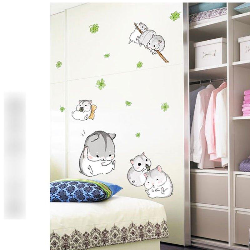 可爱小仓鼠萌宠卡通动漫墙贴卧室客厅背景墙宿舍寝室装饰墙上贴画生活