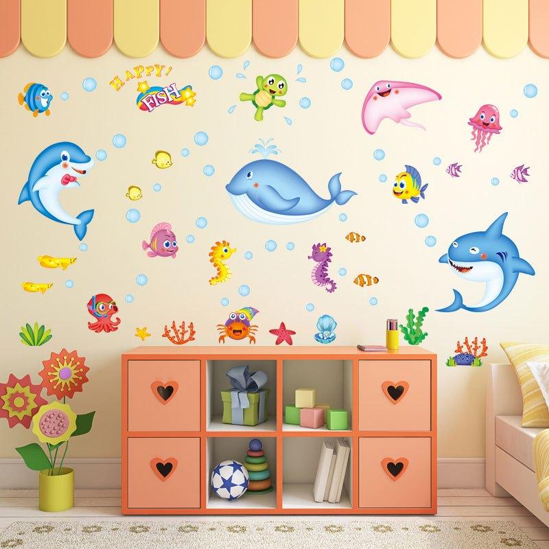 简约现代可爱卡通海豚小鱼贴画墙贴儿童房卡通动漫浴室装饰幼儿园教室