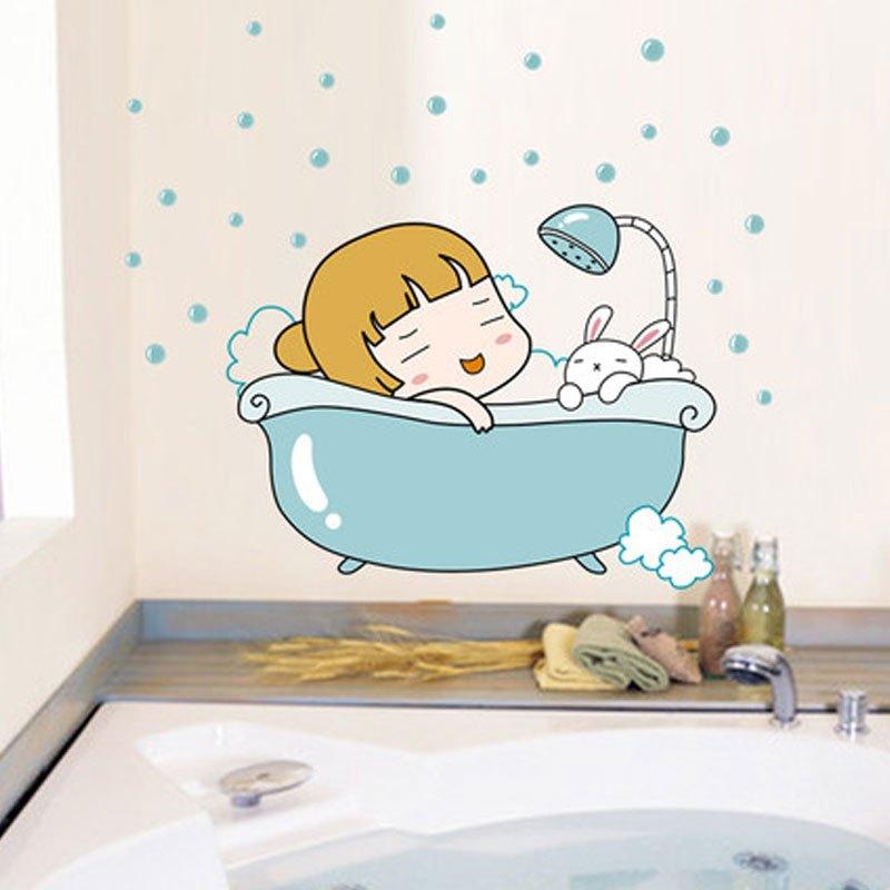 洗澡宝宝系列卫卡通创意浴室可爱随心贴防水家装墙纸可移除墙贴生活日