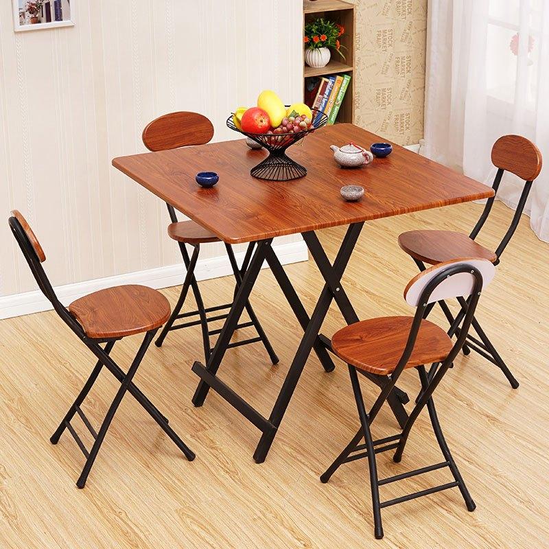 经济型家居家用可折叠桌餐桌简易饭桌折叠手提桌电脑桌正方形饭桌圆形