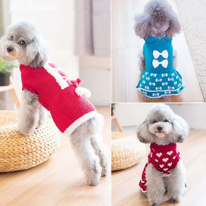 可爱狗狗毛衣泰迪衣服秋装比熊幼犬小型犬小狗公主裙宠物秋冬装多色多