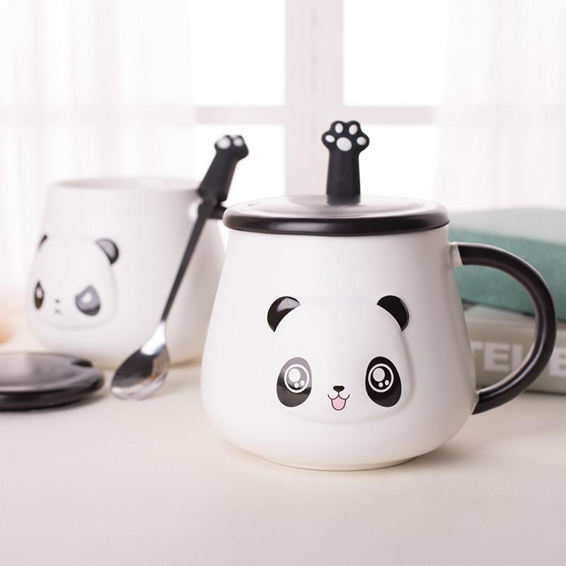 简约创意陶瓷杯子可爱马克杯带盖带勺办公室情侣喝水杯牛奶咖啡杯生活