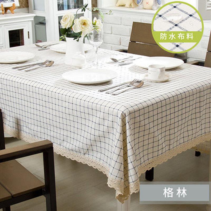 欧式田园风格小清新格子防水免洗布艺餐桌布田园风格桌布家用清新餐桌